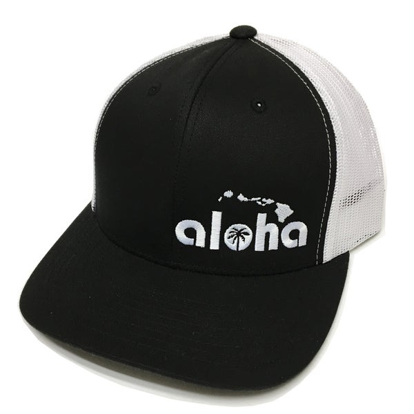 Image of Aloha Black Snapback with White Mesh and White Embroidery