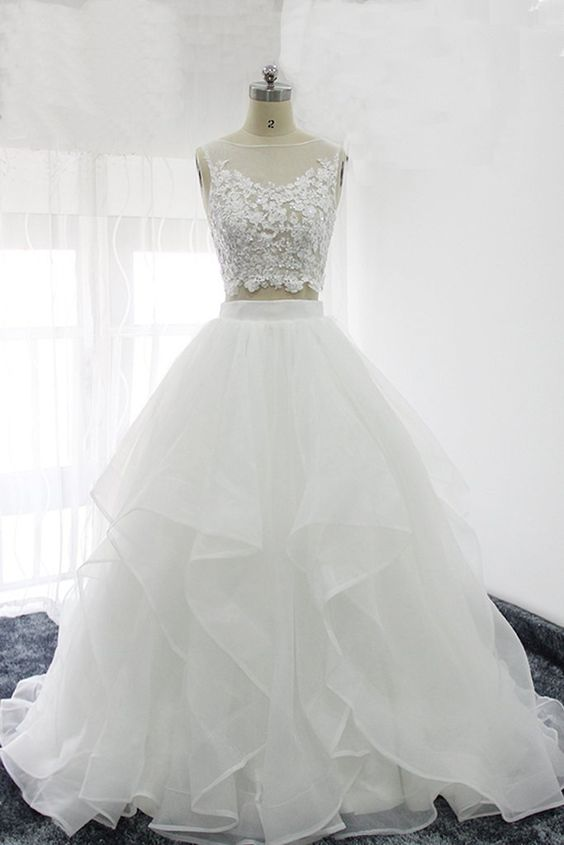 White Organza Two Piece Prom Dresses, Lace Top Prom Dresses, Party ...