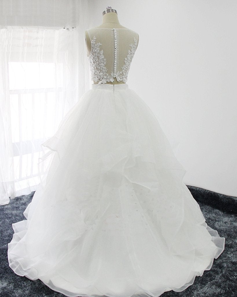 White Organza Two Piece Prom Dresses, Lace Top Prom Dresses, Party Gowns