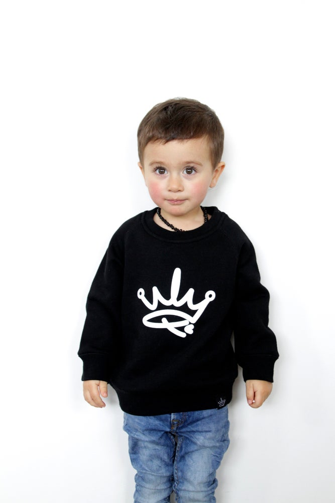 Image of MINI ME CREW SWEATER - BLACK