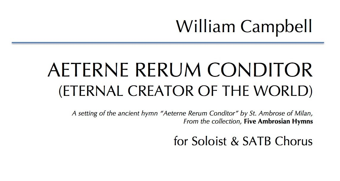 Aeterne Rerum Conditor for Soloist & SATB Choir - Digital Download