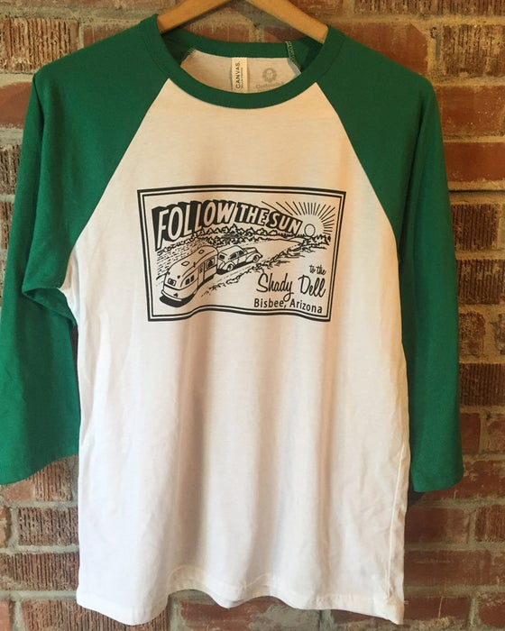 Image of Raglan Baseball Tee with Green Sleeves