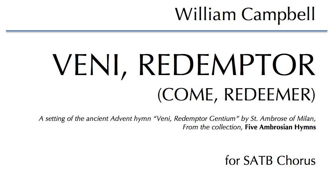 Veni Redemptor for SATB Choir - Digital Download