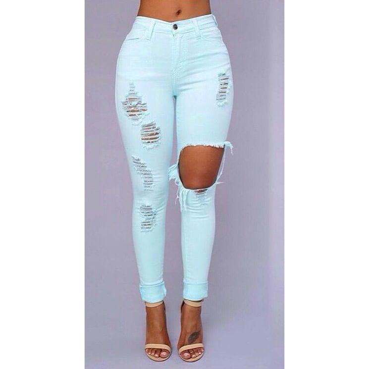 Minty Distressed Pants