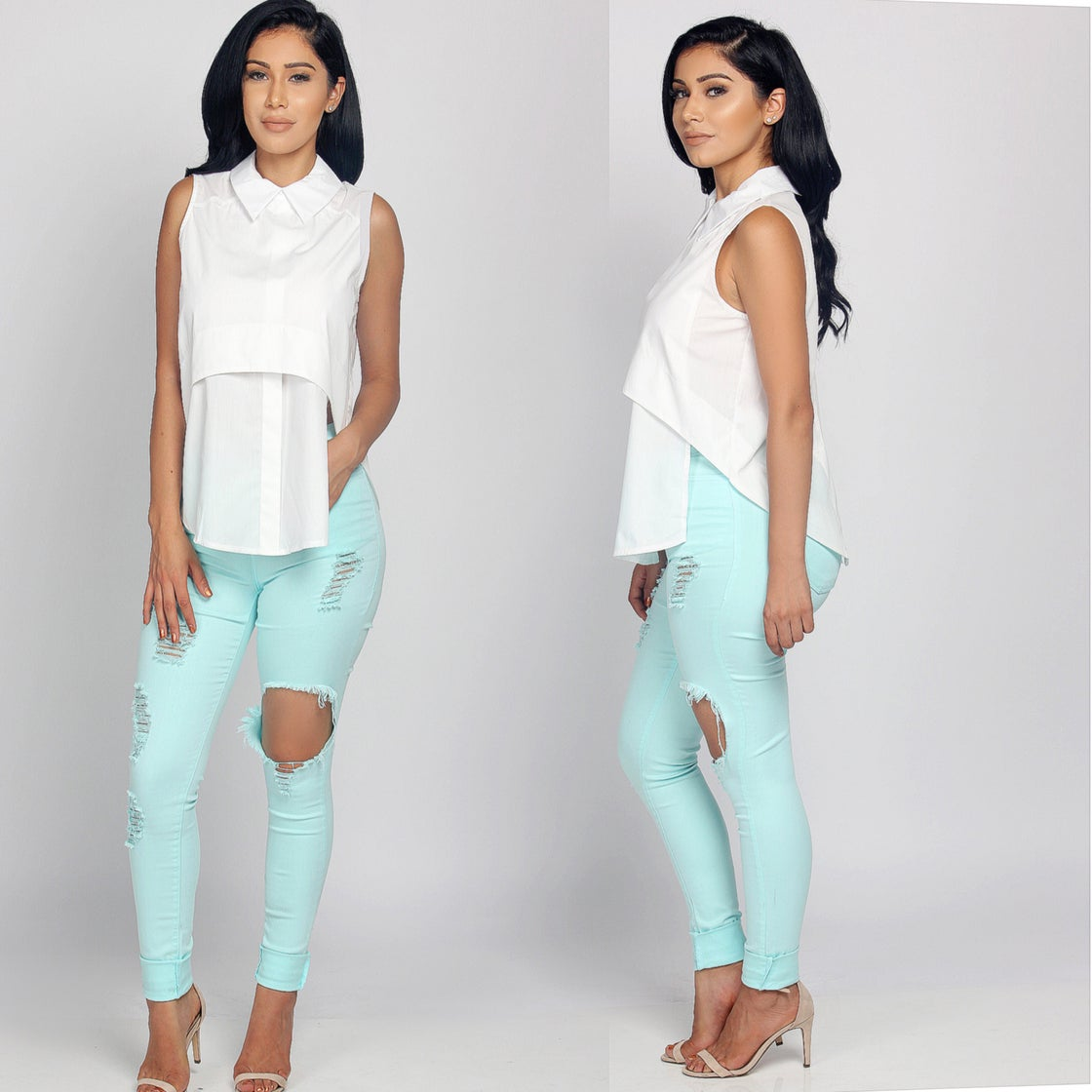 Image of Minty Distressed Pants