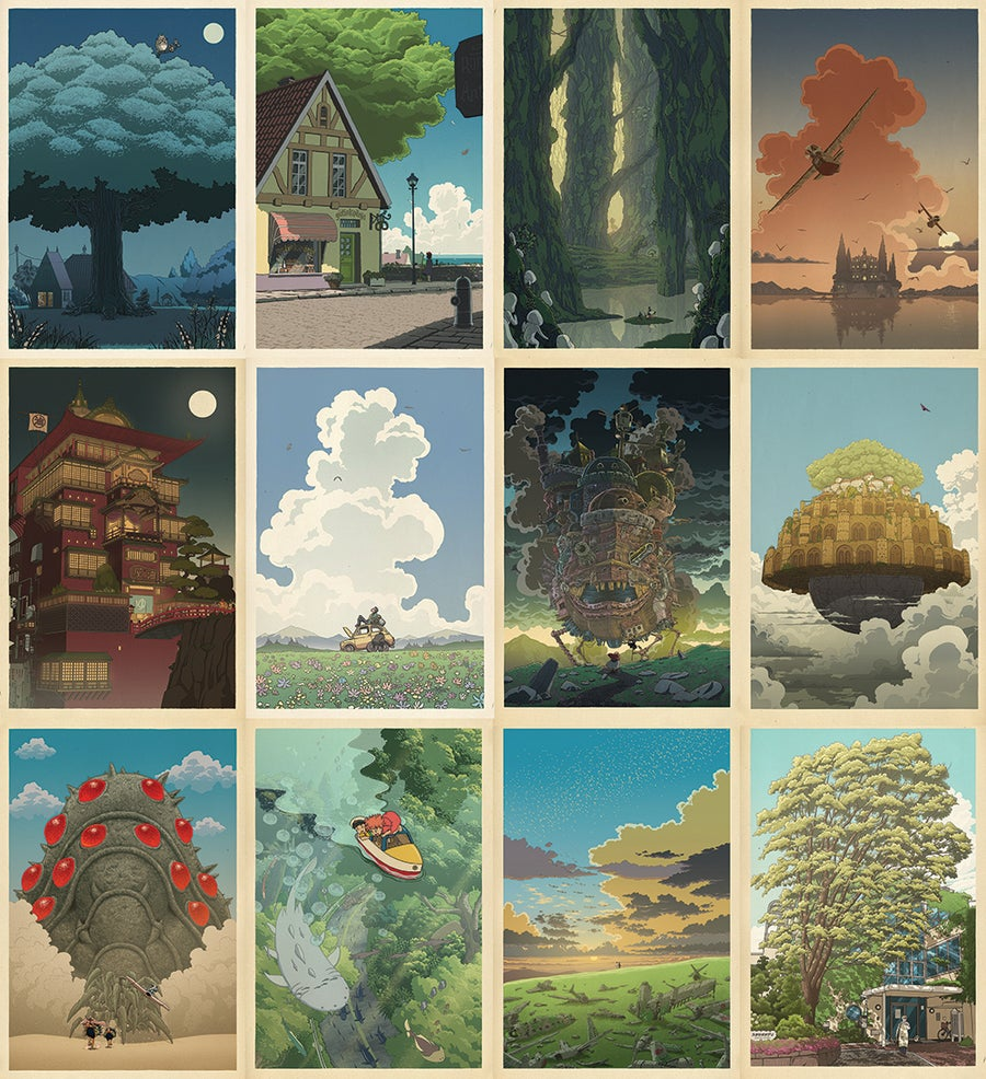 Image of Hayao Miyazaki/Japanese Complete Print Set (12 prints)