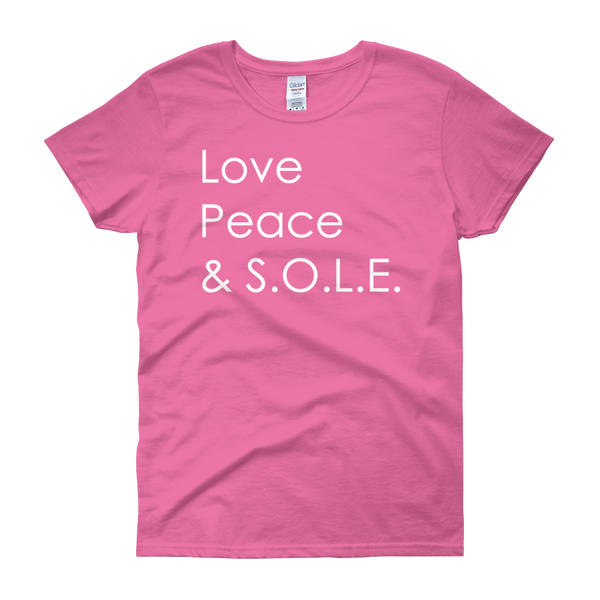 Image of Love, Peace & S.O.L.E. Ladies Tee Azalea