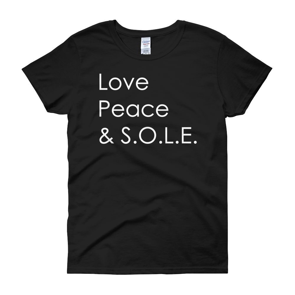 Image of Love, Peace & S.O.L.E. Ladies Tee Black