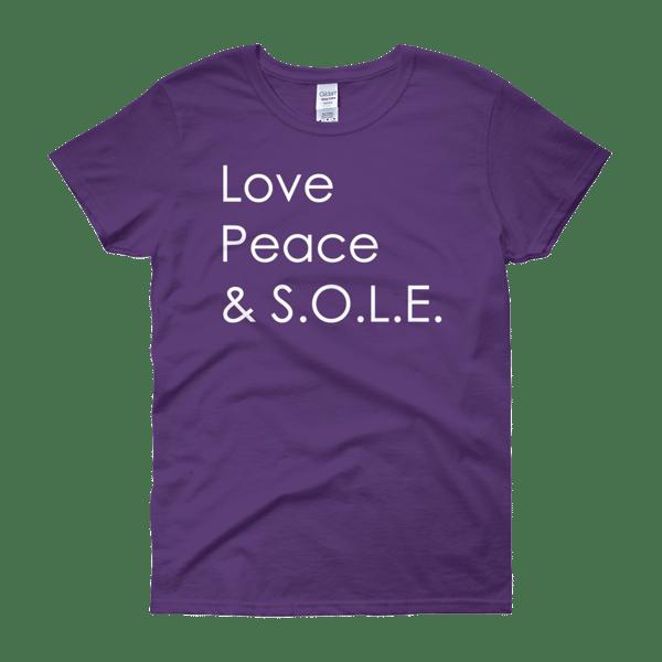 Image of Love, Peace & S.O.L.E. Ladies Tee Purple