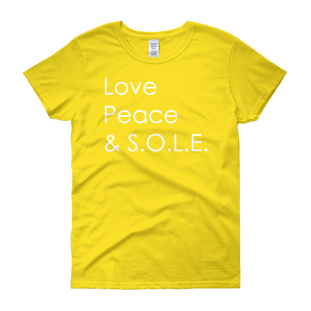 Image of Love, Peace & S.O.L.E. Ladies Tee Yellow