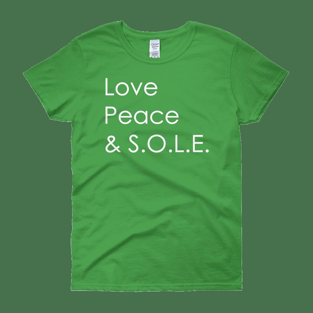 Image of Love, Peace & S.O.L.E. Ladies Tee Kelly Green