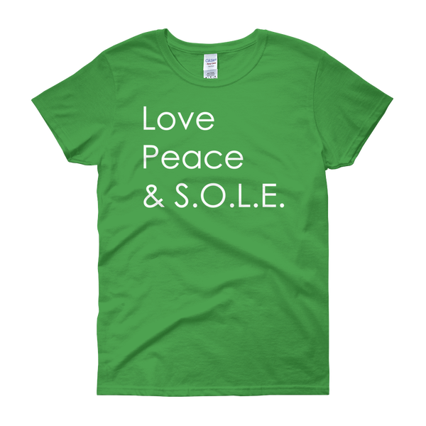 Image of Love, Peace & S.O.L.E. Ladies Tee Kelly Green