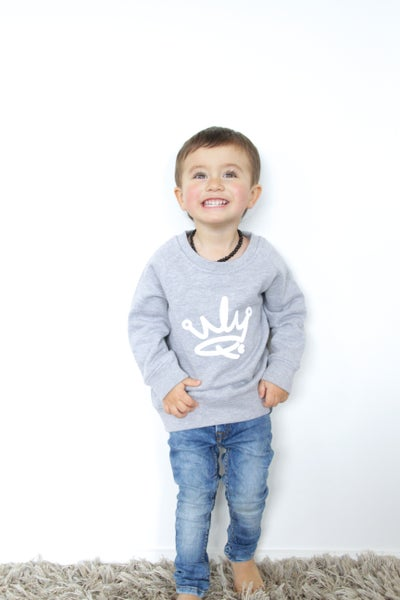 Image of MINI ME CREW SWEATER - GREY