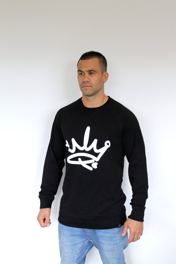 Image of ADUTS CREW SWEATER - BLACK