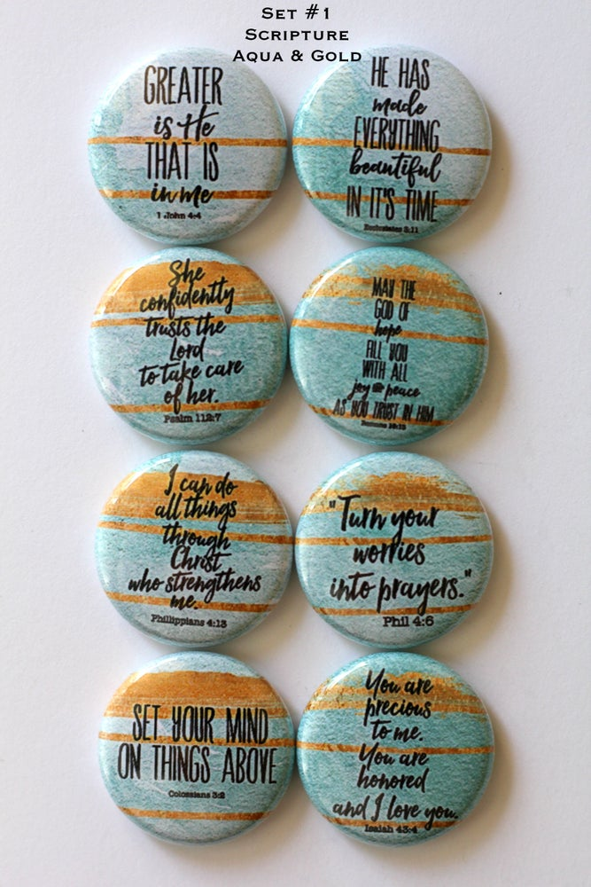 Image of Scripture Flair Buttons Aqua & Gold