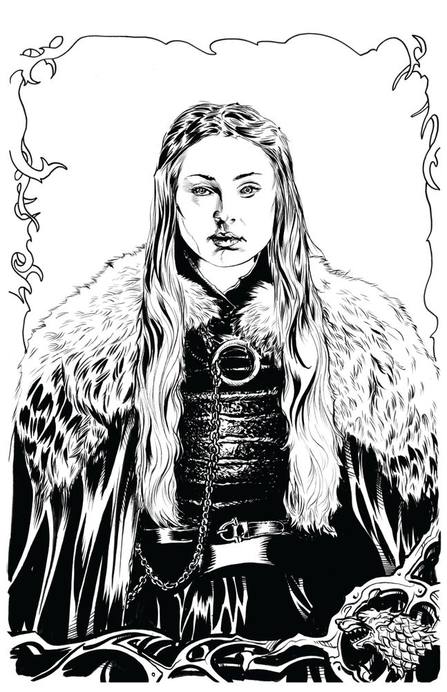 Image of Lady Sansa original inked artwork