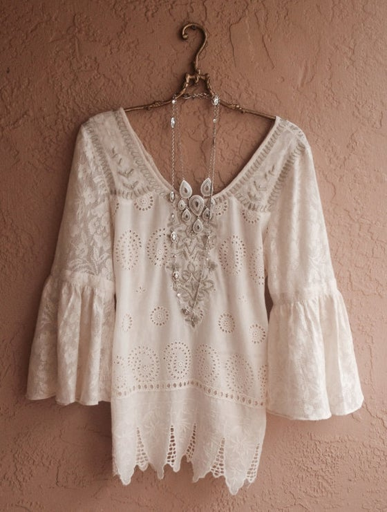 Image of Rare Free People lace crochet and vintage tablecloth design peasant top