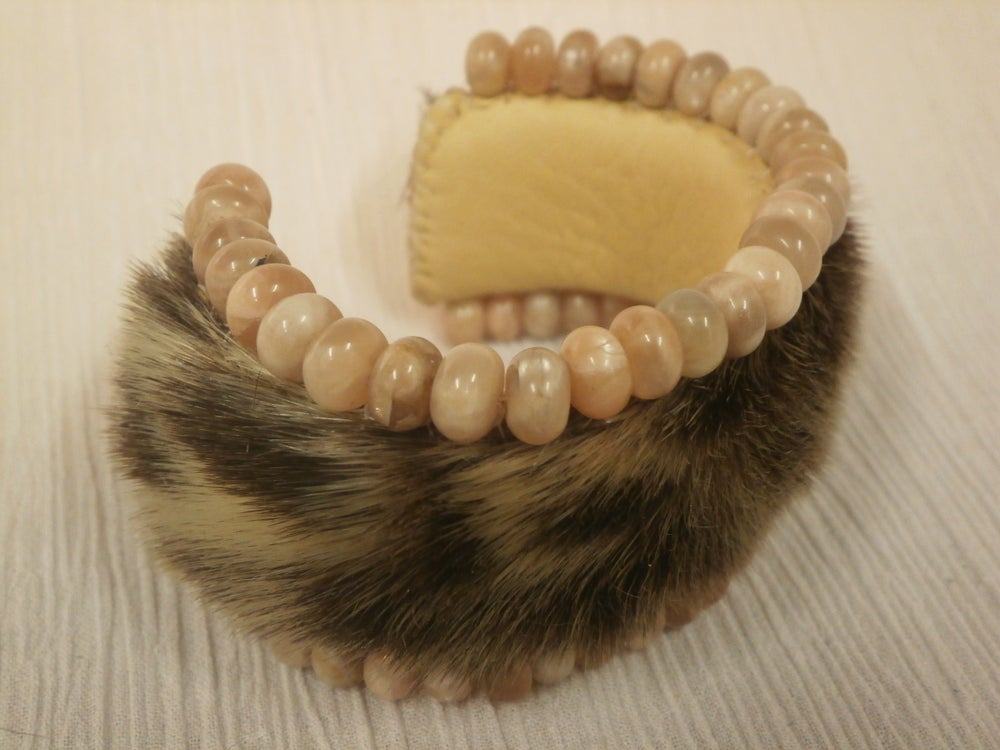 Image of Peach Moonstone and Sealskin