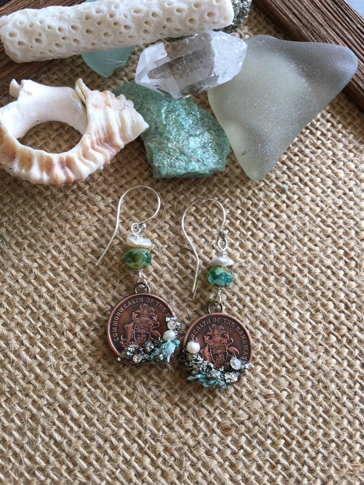Image of What the Mermaid Wore Collection. Bahama Coin Earrings