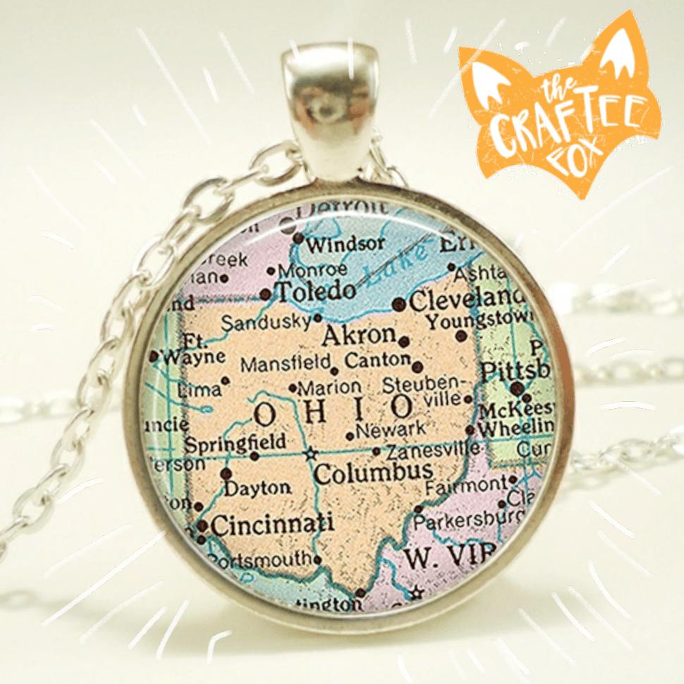 Image of Ohio map necklace