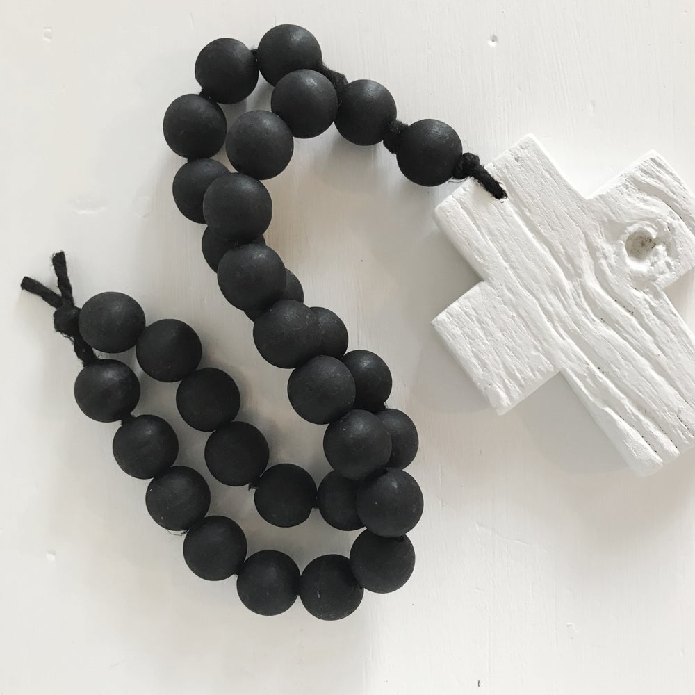 Image of N E W !  RECLAIMED LOVE BEADS - WHITE ON BLACK