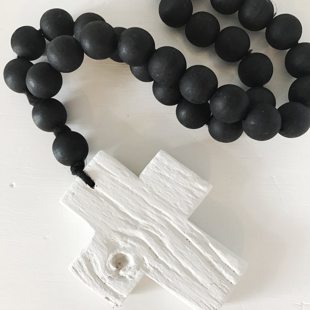 Image of RECLAIMED LOVE BEADS - WHITE ON BLACK