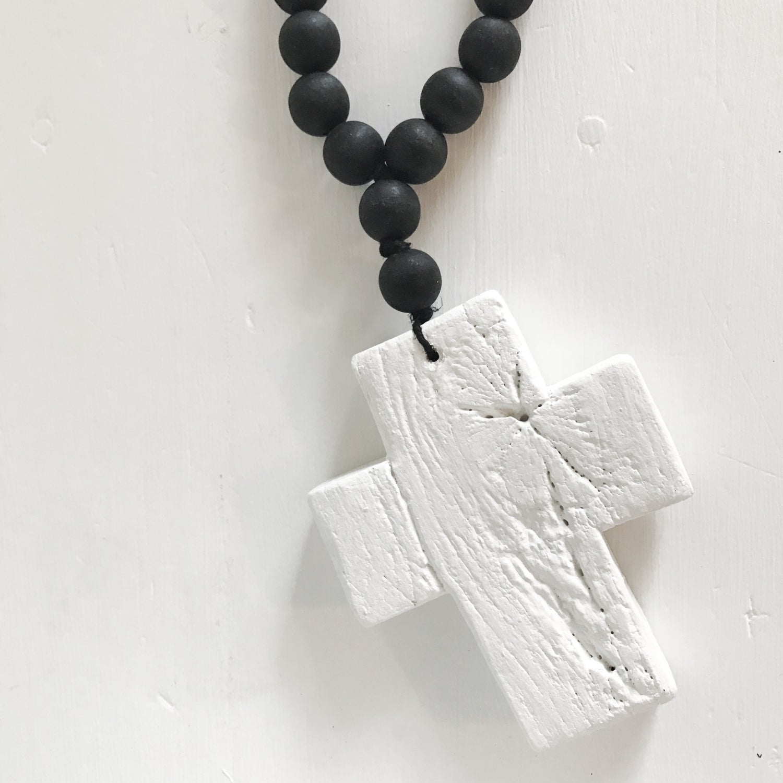 Image of RECLAIMED MINI LOVE BEADS - WHITE ON BLACK
