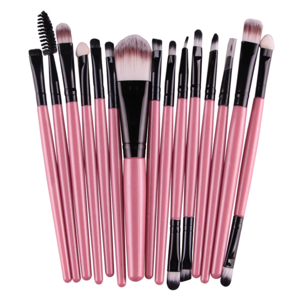 Image of Mini 15 pc Makeup Brush Set & Jewel Entrusted Mini Compact Mirror