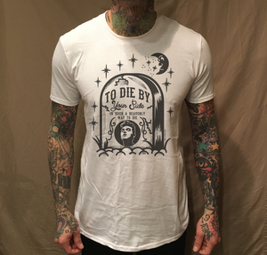 Image of MOZ TOMBSTONE PARODY ON WHITE TEE