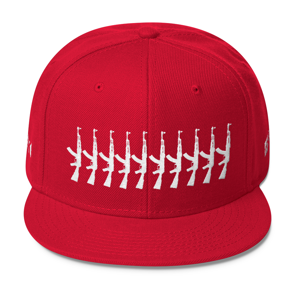 Image of Wool Blend Snapback Red/White stitch