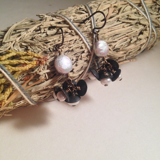 Image of Queen of Swords Coin Pearl Freshwater Pearl Handmade Niobium Earrings | Witch Tarot Avant Garde