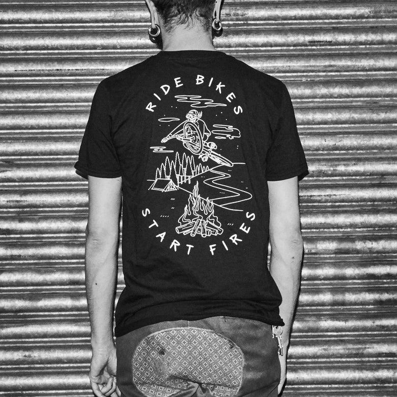 Image of Ride Bikes Start Fires T-Shirt (Black Version)