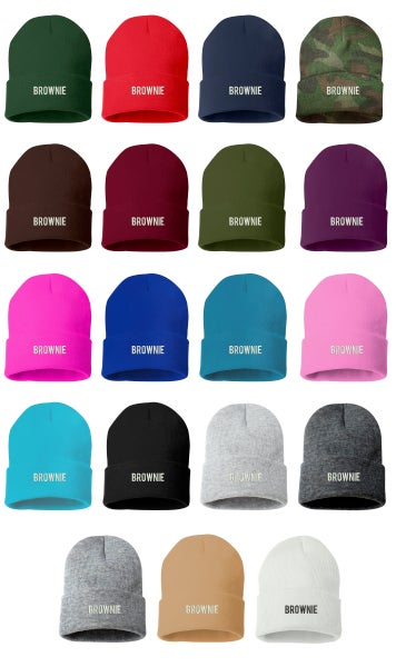 Image of Wholesale - 1 Dozen - BROWNIE Embroidered Beanie Cuffed Cap