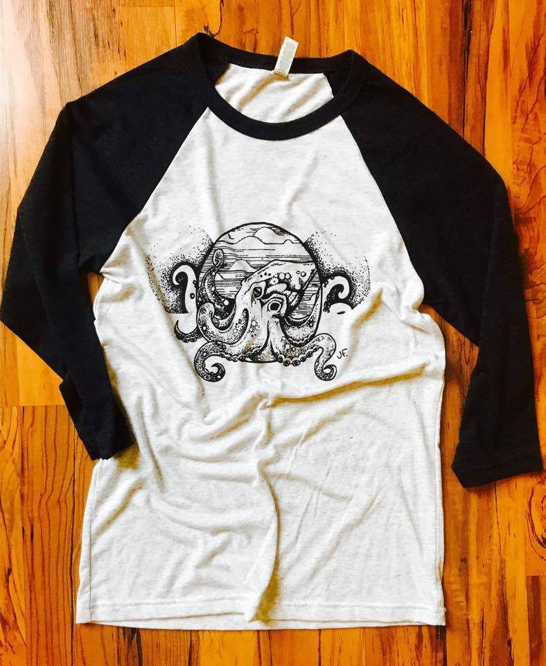 Image of Vintage Octopus Print Raglan