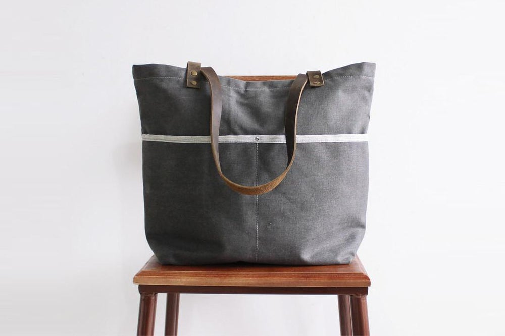 Image of Waxed Canvas with Leather Tote Bag, Shoulder Bag, School Bag 14043