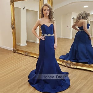 Image of Royal Blue Sweetheart Crystal Waistband Mermaid Satin Evening Gown