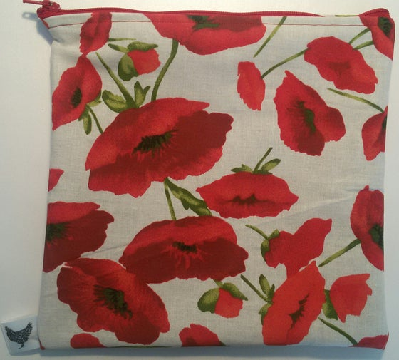 Image of Poppies on white (new large pouch)