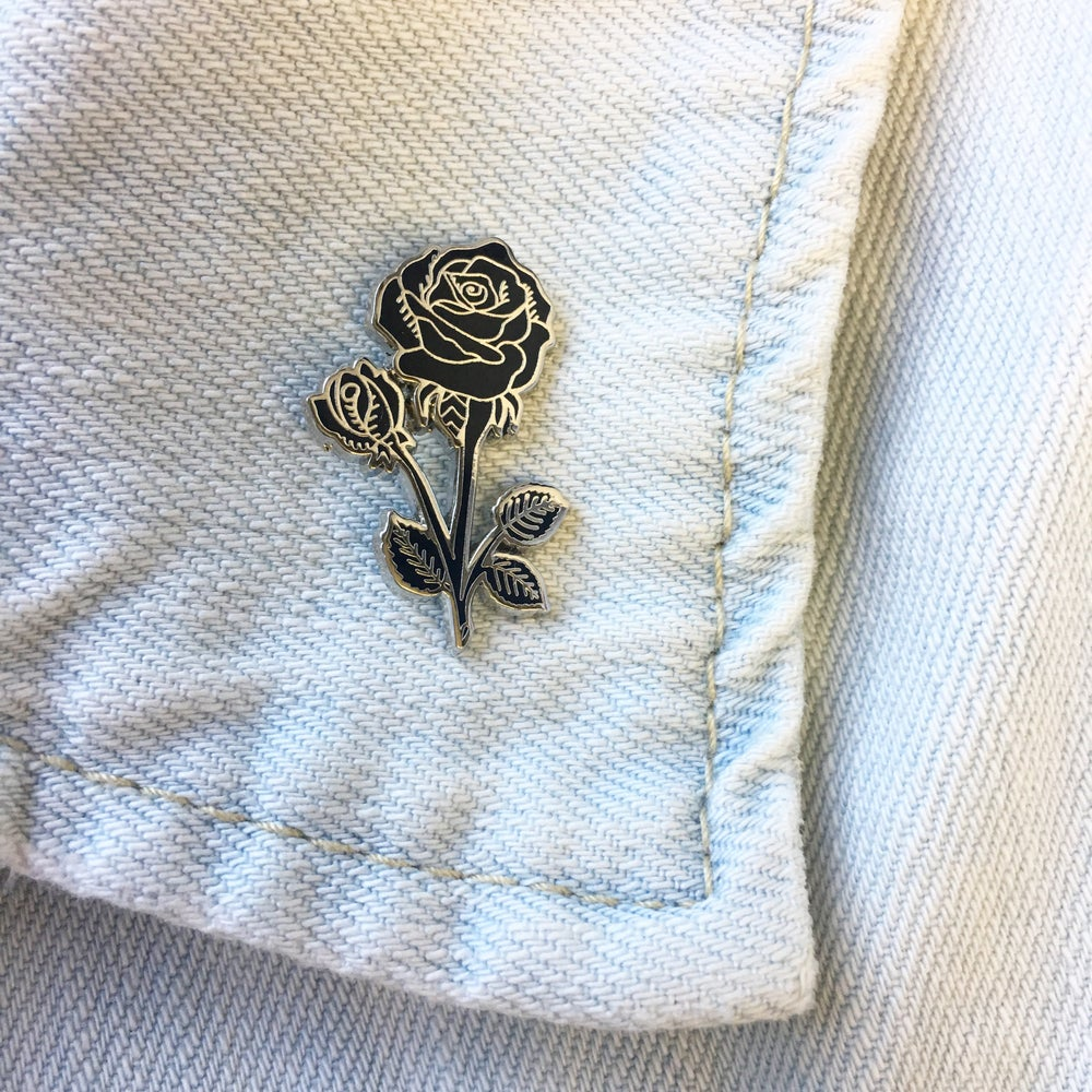 Image of Rose Enamel Pin - Black & Silver