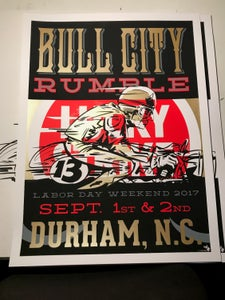 "Image of 2017 Large Bull City Rumble Poster 18"" x 24"" Hand-Screened & Signed"