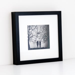 Image of Framed Paper Cut Couple Walking - small