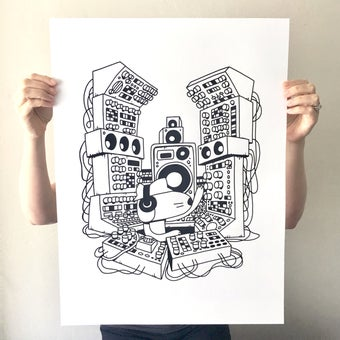 Image of 'SUBWOOFER AT THE CONTROLS' SCREEN PRINT