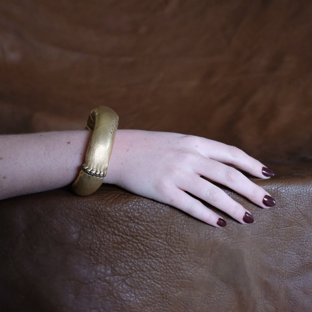Image of L Bracelet in Gold Leather