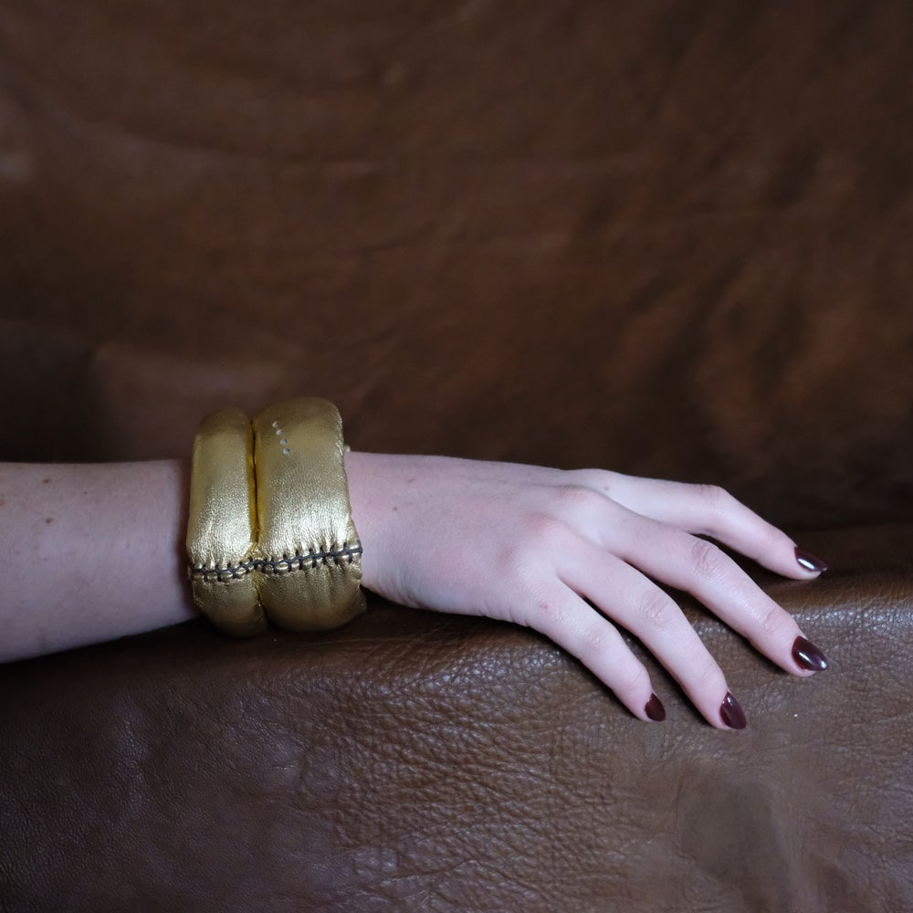 Image of DL Bracelet in Gold Leather