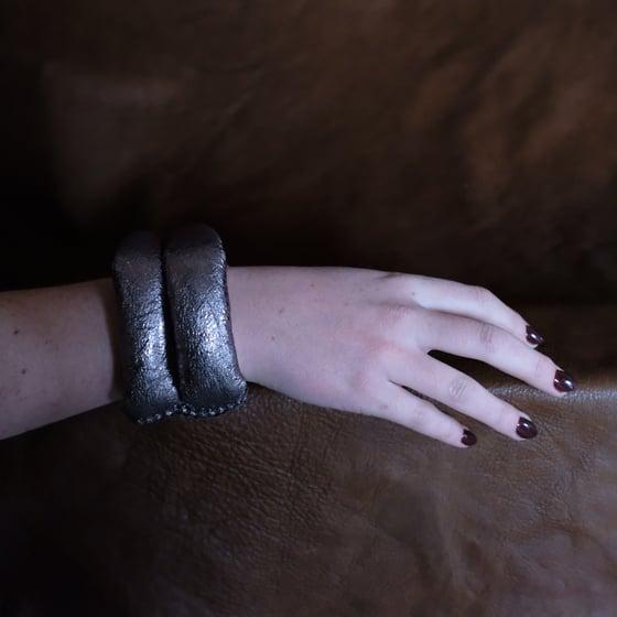 Image of DL Bracelet in Gun Metal Grey Metallic Leather