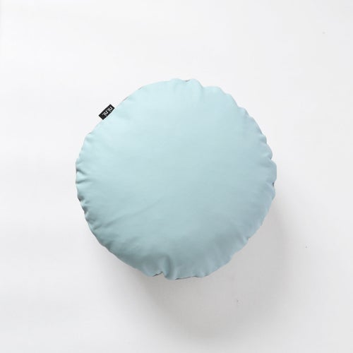 Image of Leather Roundie Cushion Cover - Baby Blue