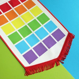 Image of Rainbow pin display pennant, enamel pin badge banner - BRIGHT colours / RED fringing