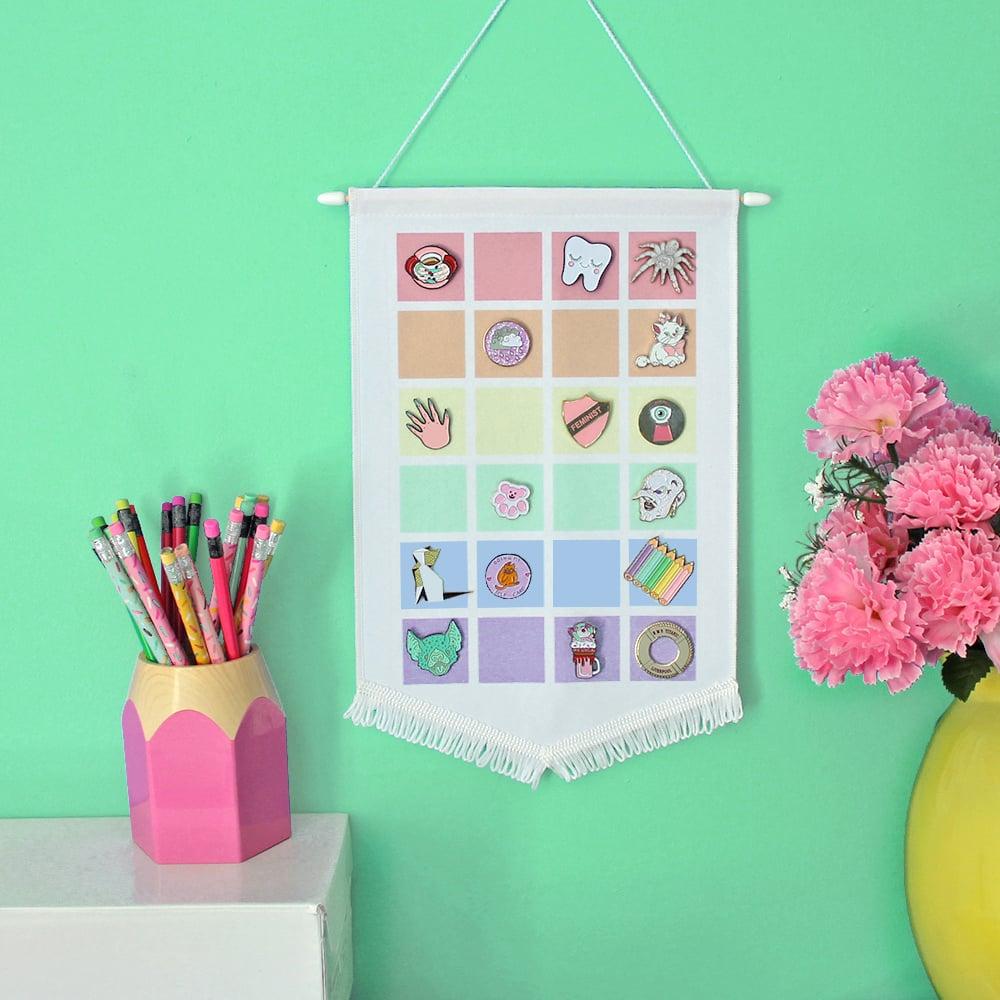 Image of Pastel Rainbow pin display pennant, enamel pin badge banner - PALE colours / WHITE fringing