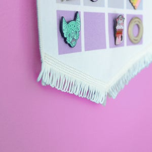 Image of Pastel Rainbow pin display pennant, enamel pin badge banner - PALE colours / WHITE fringing
