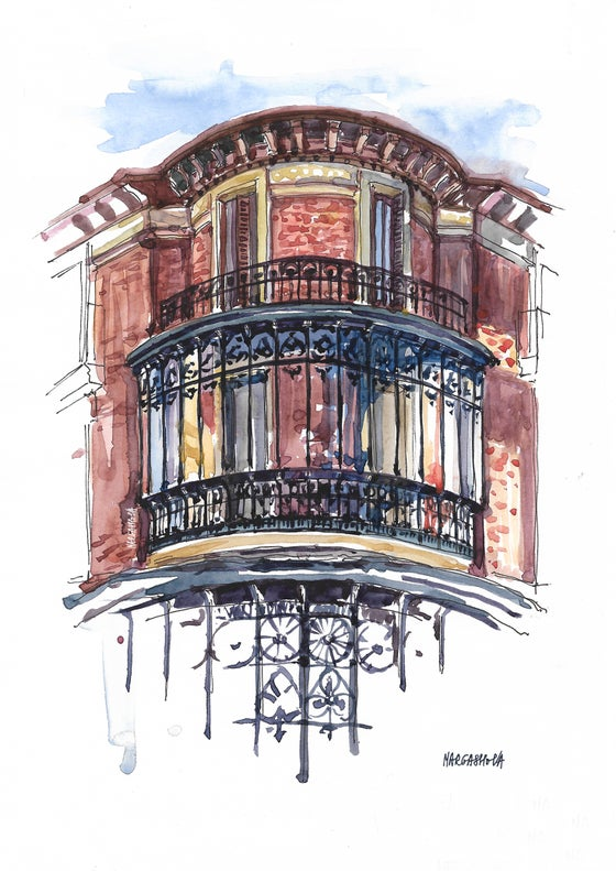 Image of Balcony - Madrid, Spain | Watercolor | Urban Sketching | Acuarela