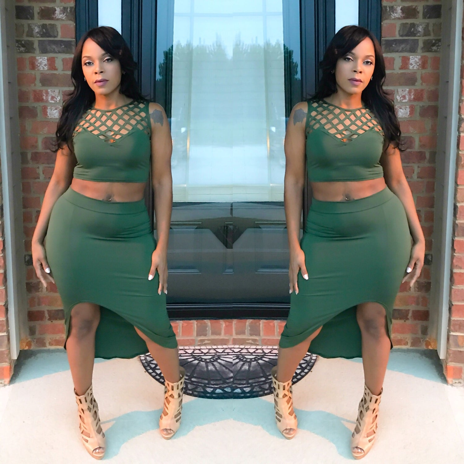 Image of Mean Green 2 Piece Skirt Set